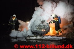 Bilbrand på rasteplads ml. Hejnsvig og Donslund