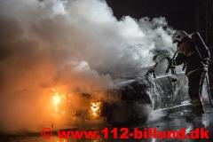Bilbrand på rasteplads mellem Hejnsivg og Donslund