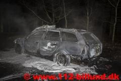 Bilbrand på rasteplads mellem Hejnsvig og Donslund